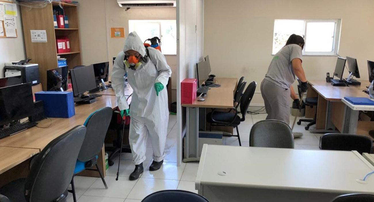 Sanemar sanitiza dependências da Companhia